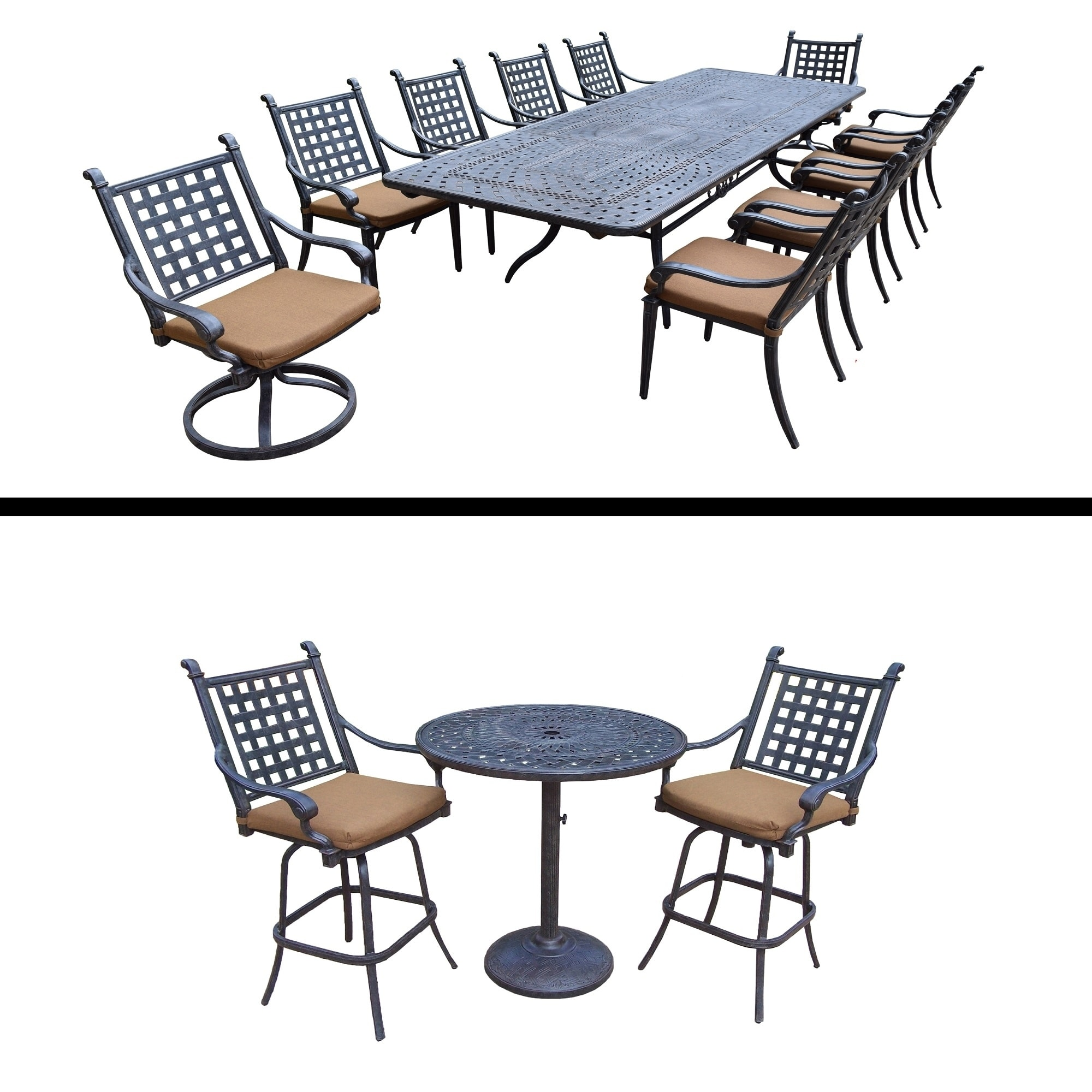 Oakland Living 11 Pc Dining Room Set with Extendable Table and 3 Pc Bar Set by Overstock
