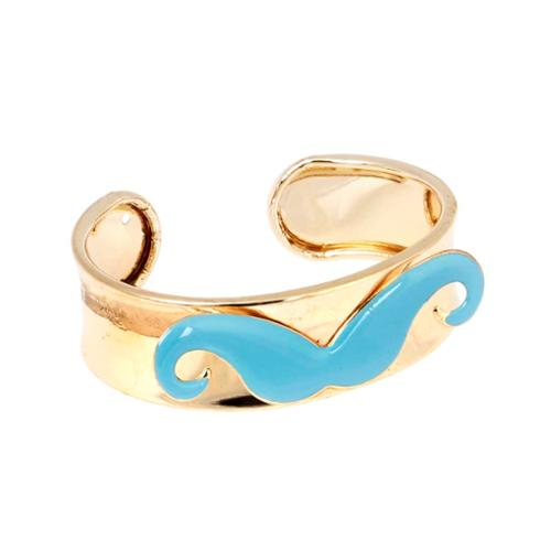 BMC Womens Baby Blue Mustache Gold Alloy Metal Cuff Fashion Bangle Bracelet