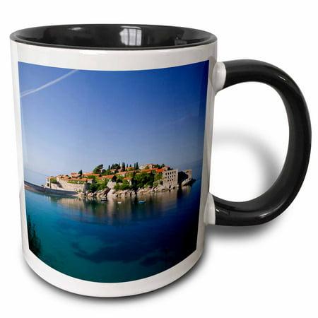 3dRose Montenegro, Sveti Stefan, Coastal Resort Island - EU47 WBI0210 - Walter Bibikow, Two Tone Black Mug, 11oz
