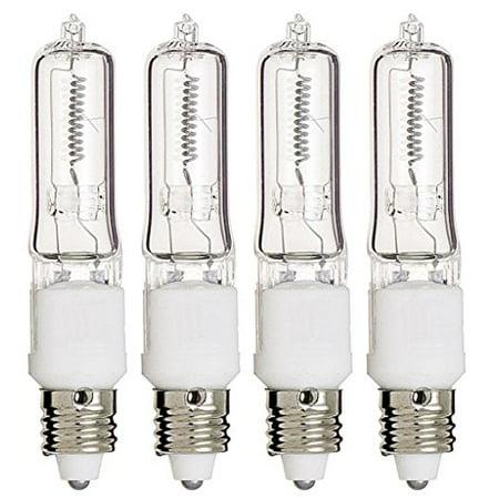 (4 Pack) Q75CL/MC - 75 Watt JD T4 E11 Mini Candelabra Base 120V Clear Light