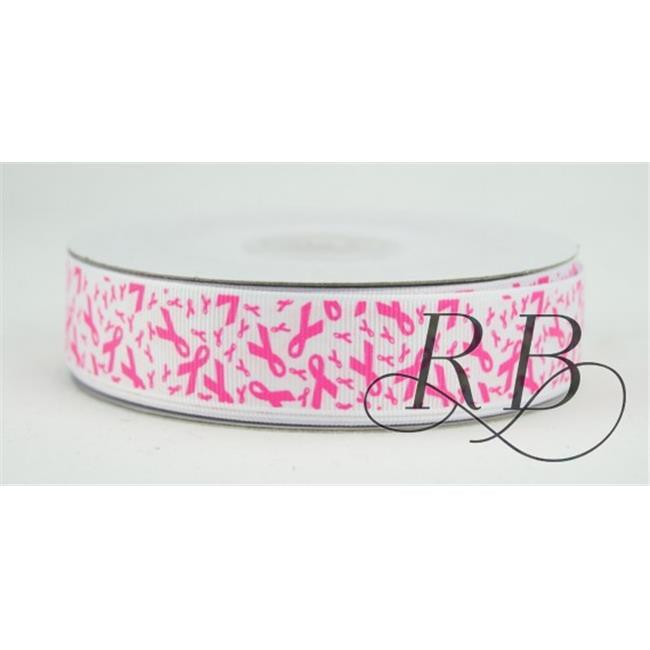 Ribbon Bazaar 7777 0.88 in. Grosgrain Breast Cancer Awareness Ribbon, Hot Pink - 25 Yards