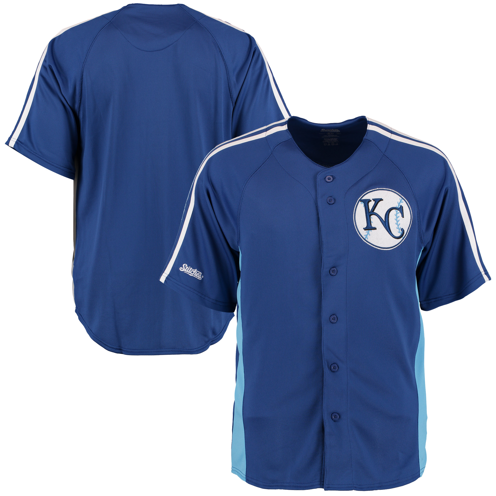 Kansas City Royals Stitches Cut off Man Fashion Full Button Jersey - Royal