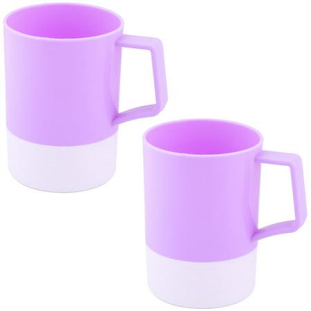 Uxcell Plastic Bathroom Toothbrush Toothpaste Holder Water Mug Cup Purple 400ml 2pcs ()