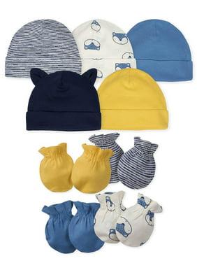 Gerber Baby Boy Assorted Caps & Mittens Accessories Bundle, 9-Piece Set