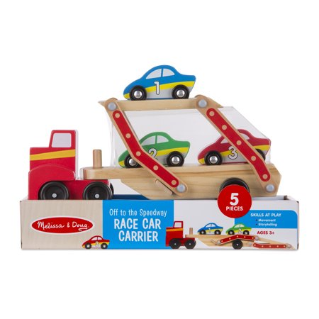 Melissa & Doug Off to the Speedway Wooden Race Car Carrier (5 pcs)