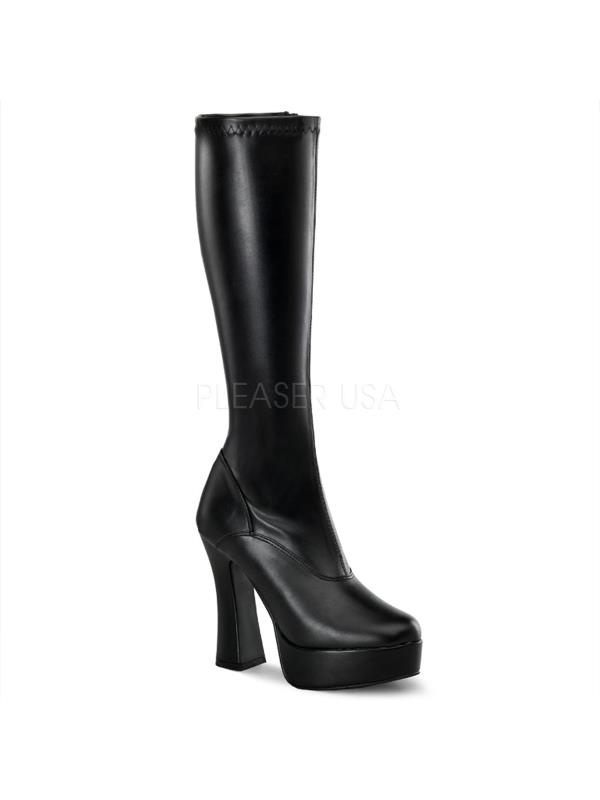 ELE2000Z/B/PU Pleaser Platforms (Exotic Dancing) Knee High Boots BLACK Size: 13