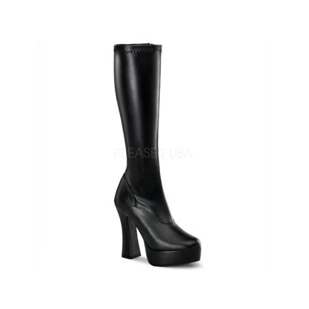ELE2000Z/B/PU Pleaser Platforms (Exotic Dancing) Knee High Boots BLACK Size: 11