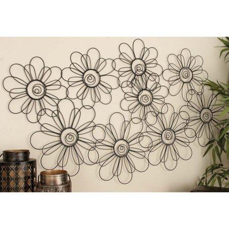 decmode metal wall decor black. Black Bedroom Furniture Sets. Home Design Ideas