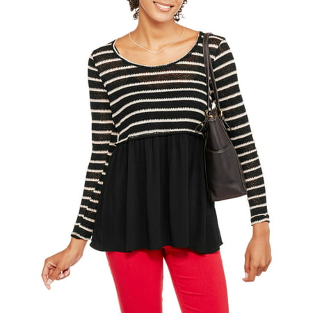 Image of Juniors' Long Sleeve Stripe Scoopneck Babydoll Top with Contrast Bottom