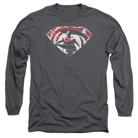 BATMAN V SUPERMAN/SUPER SPLATTER LOGO-L/S ADULT 18/1-CHARCOAL-MD