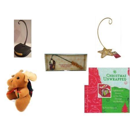 Christmas Fun Gift Bundle [5 Piece] - Hallmark Ornament Display Holder QXG4802 - Gold Glitter Star Base Ornament Hanger - Debbie Mumm Button Santa Candle Snuffer -  Moose With Plaid Backpack  5
