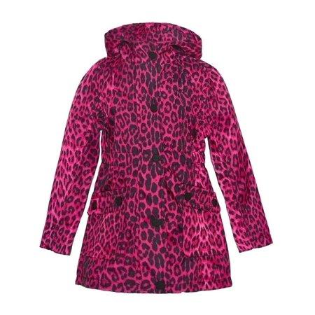 Urban Republic Little Girls Fuchsia Leopard Pattern Pockets Hooded Coat - Girls Leopard Coat