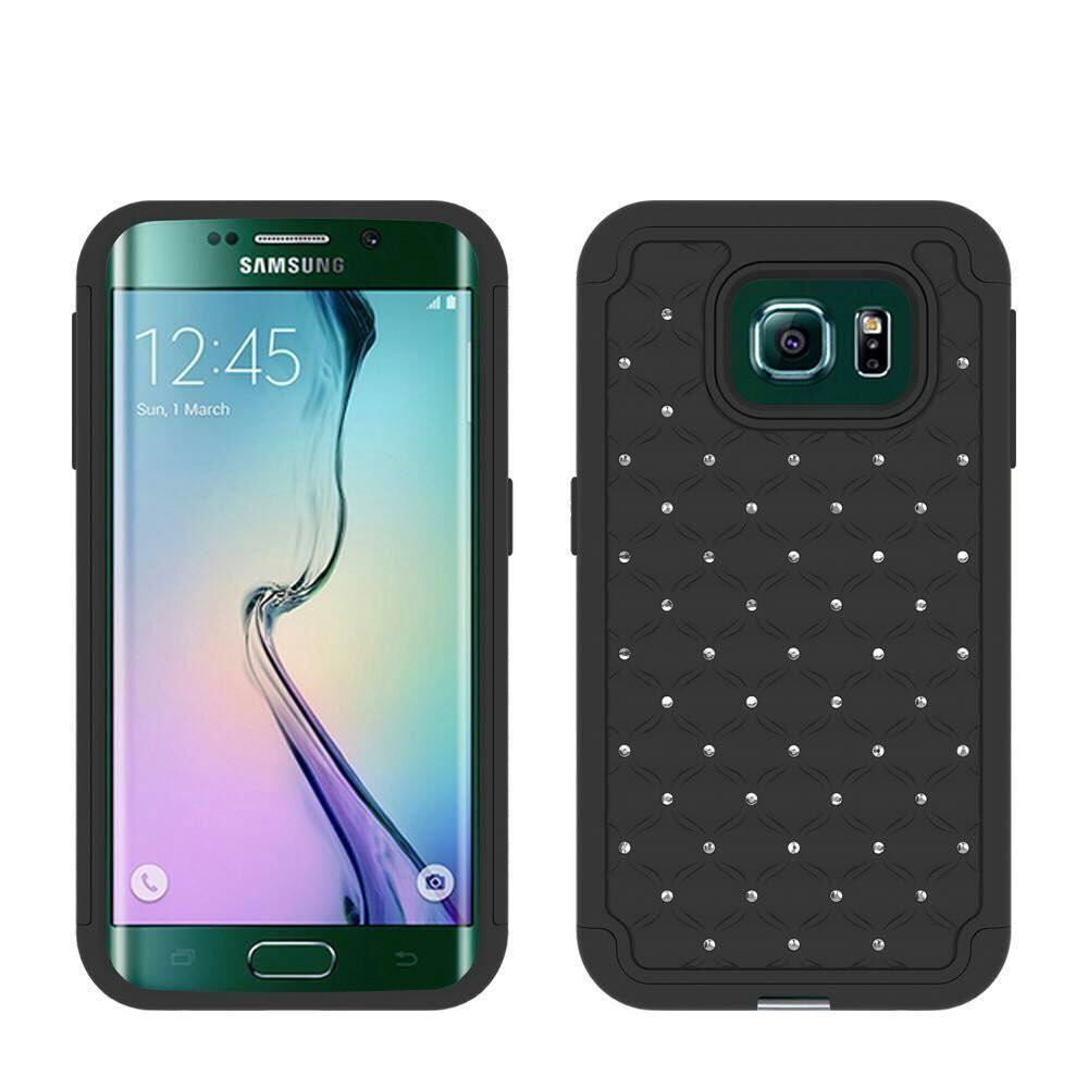 Hard PC with Soft RubberGalaxy S6Heavy Duty Dual Layer Hybrid Bling Diamond Defender Case Cover -Black/Black