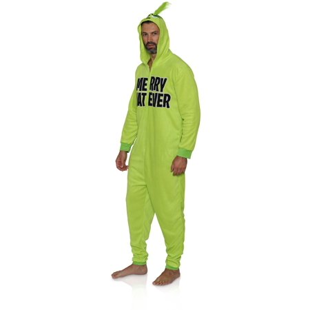 Grinch Women's Licensed Sleepwear Adult Costume Union Suit Pajama (XS-3X), Grinch Men, Size: Medium (Grinch Sled)