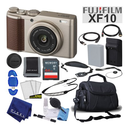 Fujifilm XF10 X-Series 24.2 MP Point & Shoot Digital Camera (Gold) Mid-Range Bundle (Series Point And Shoot Camera)