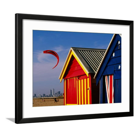 Brighton Party City (Beach Huts with Kitesurfer and City Skyline in the Background, Brighton Framed Print Wall Art By Daniel)