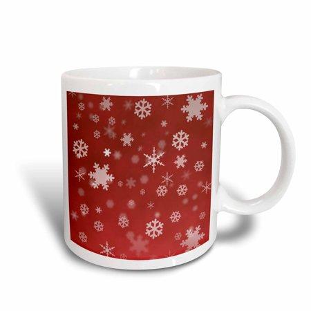 3dRose Winter Snowflakes Red, Ceramic Mug, 11-ounce (Snowflake Mug)