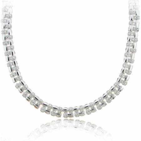 Designer Sterling Silver Simulated Diamond CZ Basket Weave Necklace