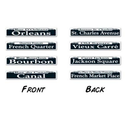 Pack of 48 Assorted Mardi Gras New Orleans Street Sign Cutout Party Decorations 24