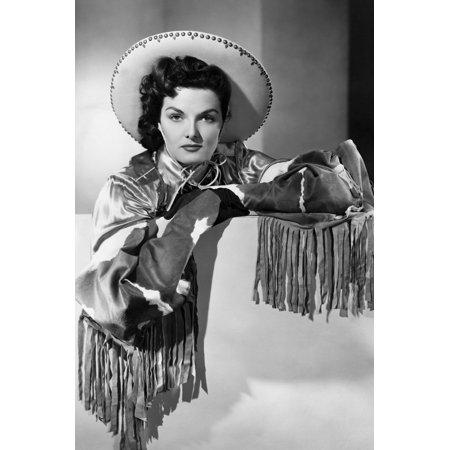 Jane Russell cowgirl outfit leaning over wall 24x36 Poster (Cow Girl Outfits)