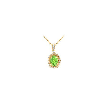 Fancy Oval Peridot and Cubic Zirconia Halo Pendant in Gold Vermeil over Sterling Silver - image 5 de 5