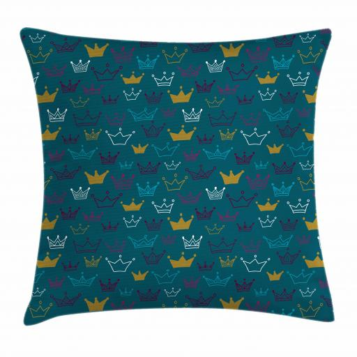 Princess Throw Pillow Cushion Cover, Hand Drawn Style Crowns Tiaras Fun Girlish Pattern for Babies Children, Decorative Square Accent Pillow Case, 16 X 16 Inches, Teal Yellow and Purple, by Ambesonne
