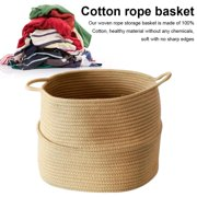 Cotton Rope Basket with Handle for Baby Laundry Basket Toy Storage Blanket Storage Nursery Basket Soft Storage Bins-Natural Woven Basket, 15'' × 15'' × 14''