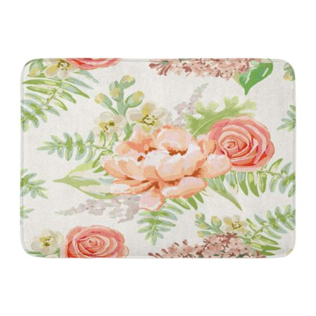 POGLIP Green Blush Pale Pink Bouquets Delicate Flowers Peony Rose Lilac Gillyflower Pastel Colors Floral Doormat Floor Rug Bath Mat 23.6x15.7 inch - image 1 of 1