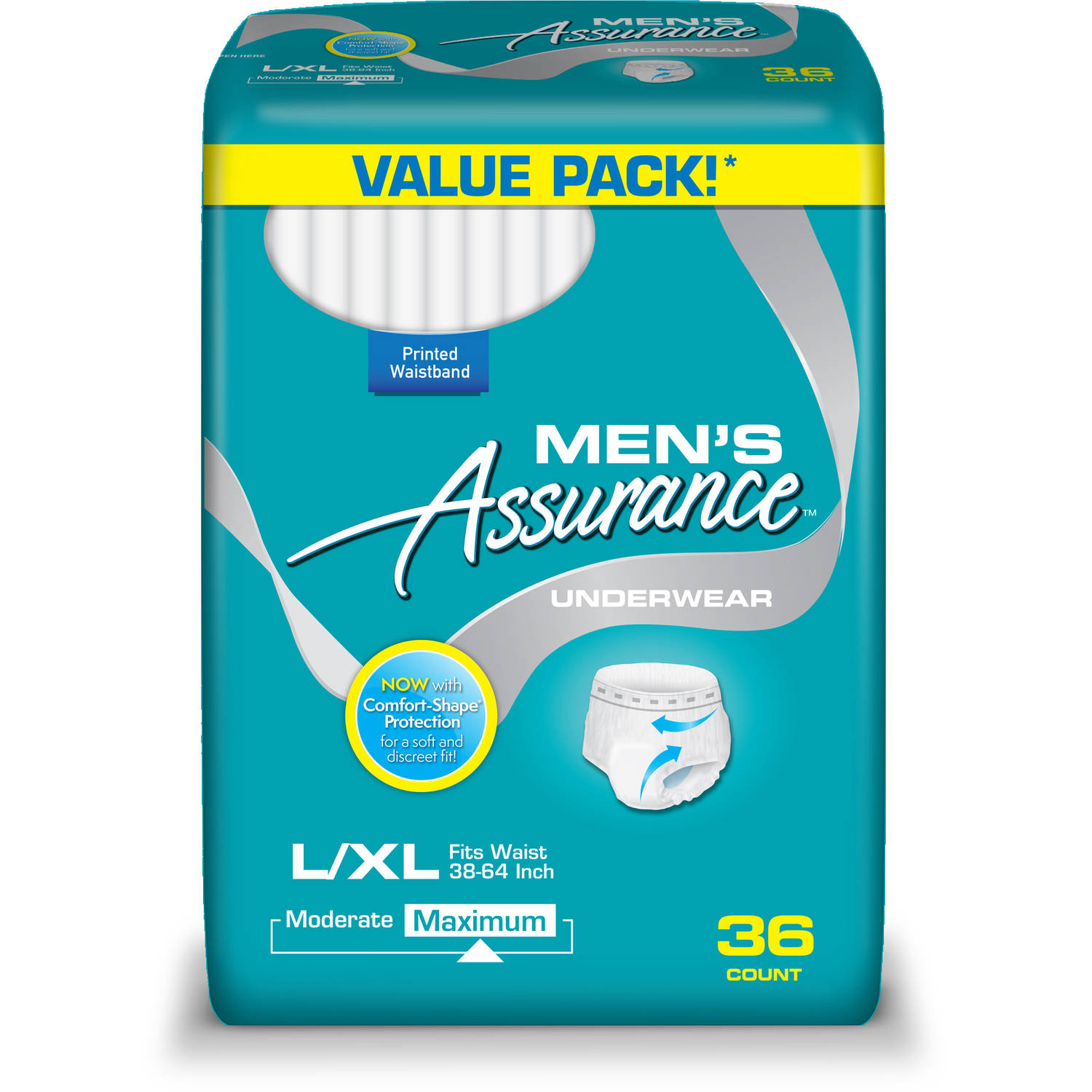 Assurance for Men Maximum Absorbency Protective Underwear, Large/Extra Large, 36 count