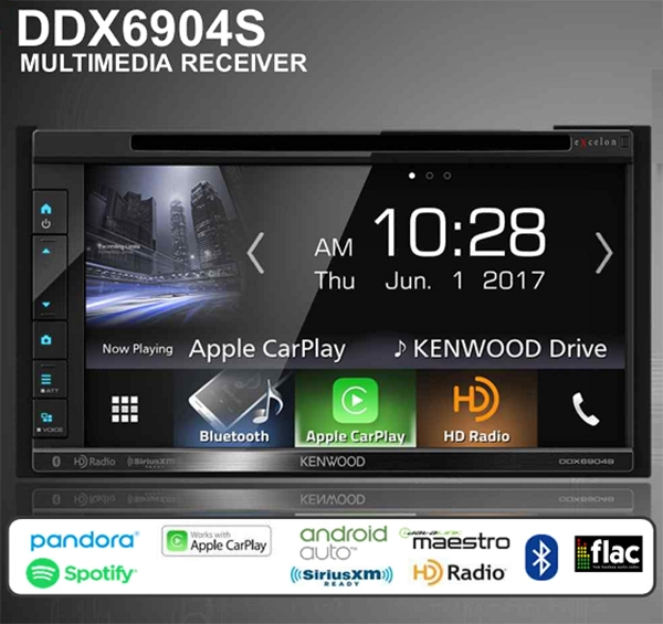 "Kenwood DDX6904S Double Din 6.8"" WVGA DVD Receiver with Built in Bluetooth, Apple CarPlay and Android Auto Ready"