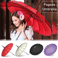 4 Colors Waterproof Lady Pagoda Parasol Bridal Wedding Party Sun Rain UV Rain Umbrella