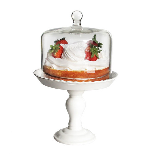 """Bianca Ped. Cake Plate W/Glass Dome White 8""""D x 12""""H"""