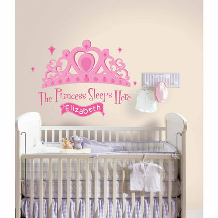 RoomMates Princess Sleeps Here Peel-and-Stick Giant Wall Decal with Personalization (Pad Princess Wall)