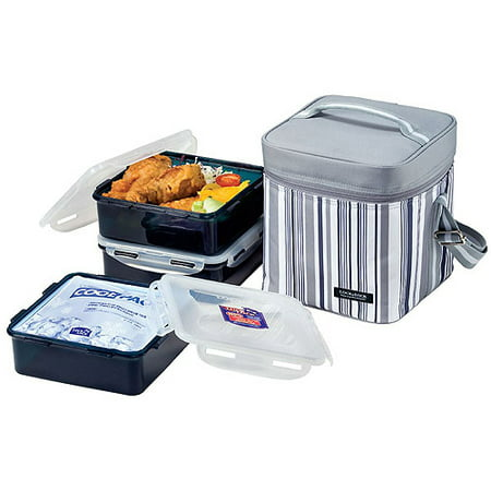 Lock lock 7 piece large square lunch box set with leak for Decor 7 piece lunch set