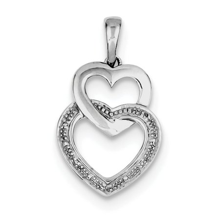 925 Sterling Silver (0.02cttw) Rhodium Plated Diamond Double Heart Pendant  (20mm x 15mm)