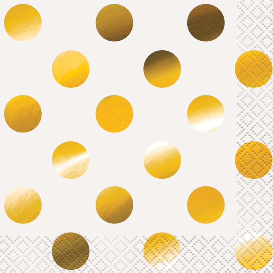 Foil Gold Polka Dot Beverage Napkins, 16ct by Unique Industries