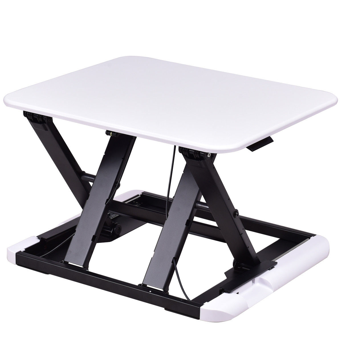 GHP White 8 Adjustable Height MDF PVC Standing Desk Computer Laptop Workstation