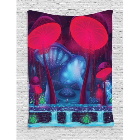 Mushroom Tapestry, Magic Mushrooms with Vibrant Neon Design Graphic Image Enchanted Forest Theme Print, Wall Hanging for Bedroom Living Room Dorm Decor, Blue Red, by - Enchanted Forest Theme Party