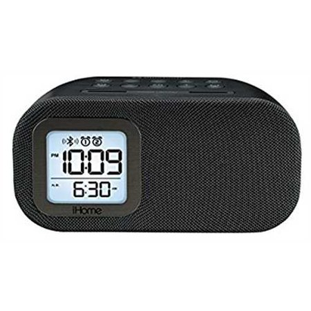 Refurbished iHome iBT210B Bluetooth Dual Alarm FM Clock Radio with Speakerphone and USB Charging -