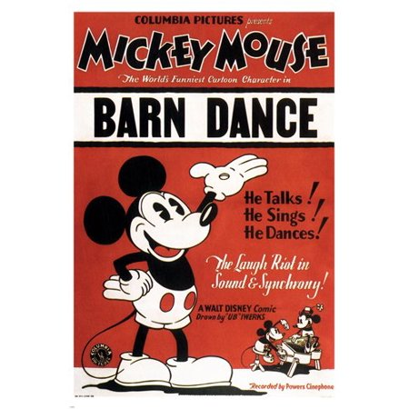 Walt Disney'S The Barn Dance Movie Poster By Ub Iwerks 1929 24X36 Cartoon - Barn Dance Theme