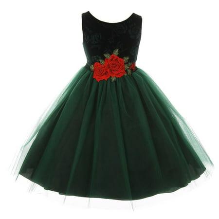 Kids Dream Little Girls Green Floral Velvet Rose Tulle Christmas Dress - Kid Christmas Dresses