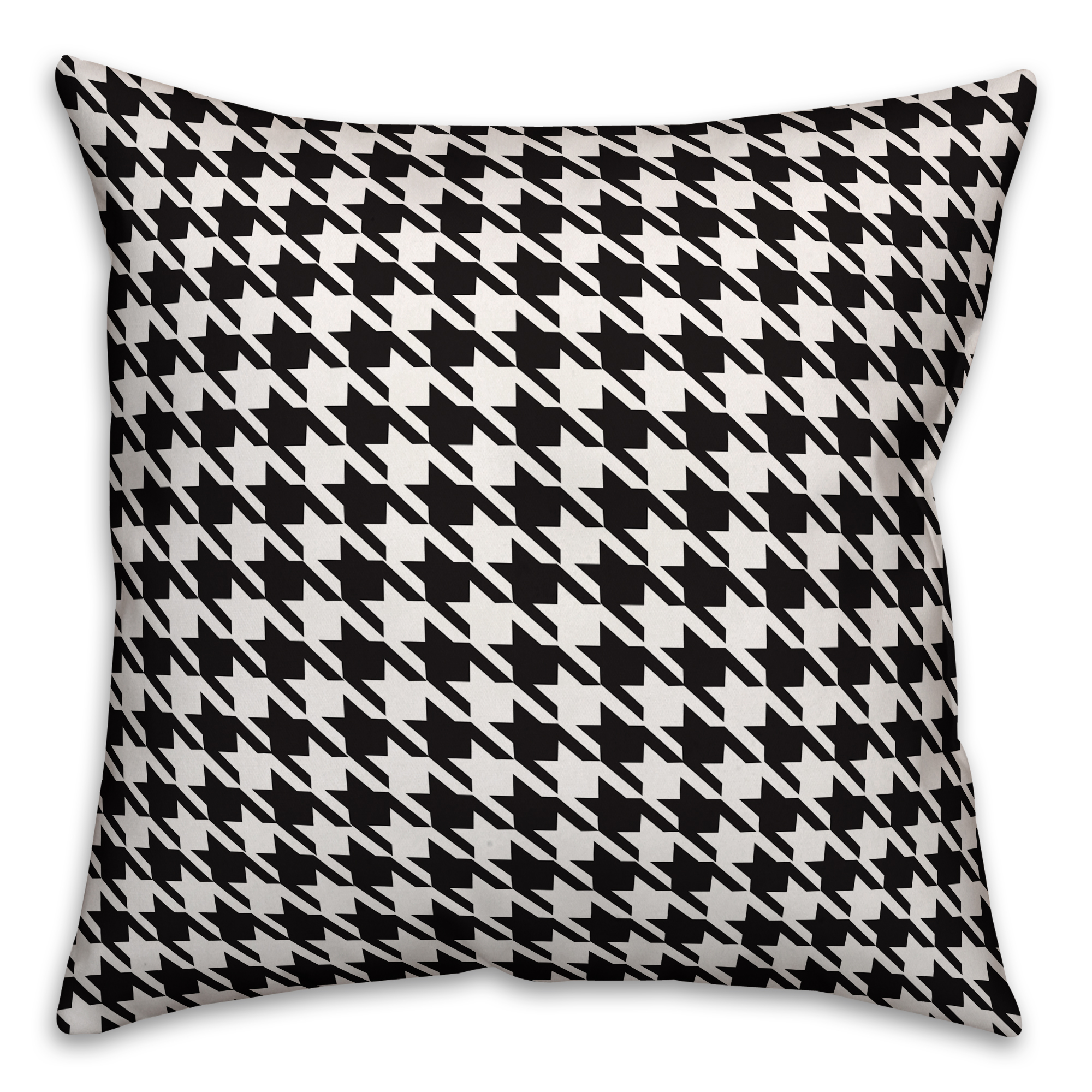 Black and White Houndstooth Plaid 18x18 Spun Poly Pillow