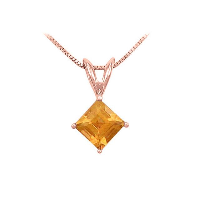 Fine Jewelry Vault UBPDVSQ600CTP Square Citrine Solitaire Pendant in 14K Rose Gold 1.00 CT TGW November Birthstone... by Fine Jewelry Vault