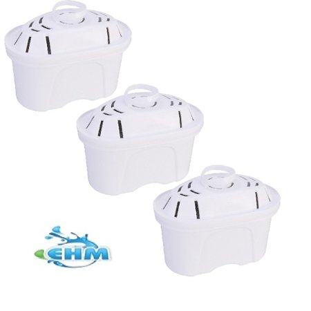 EHM SureFlow 3 Pack Alkaline Mineral Water Filters Replacement Cartridge EHM SureFlow Filter- Alkaline Water pitcher filter replacement ( Fits EHM 3.5L ULTRA Pitcher)
