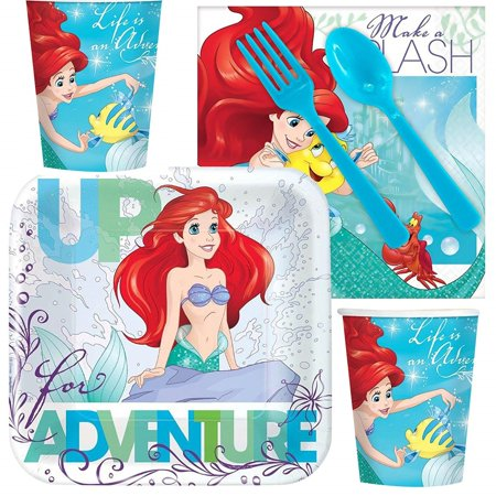 Little Mermaid Ariel Standard Birthday Party Tableware Kit for 8 - Ariel Birthday Party