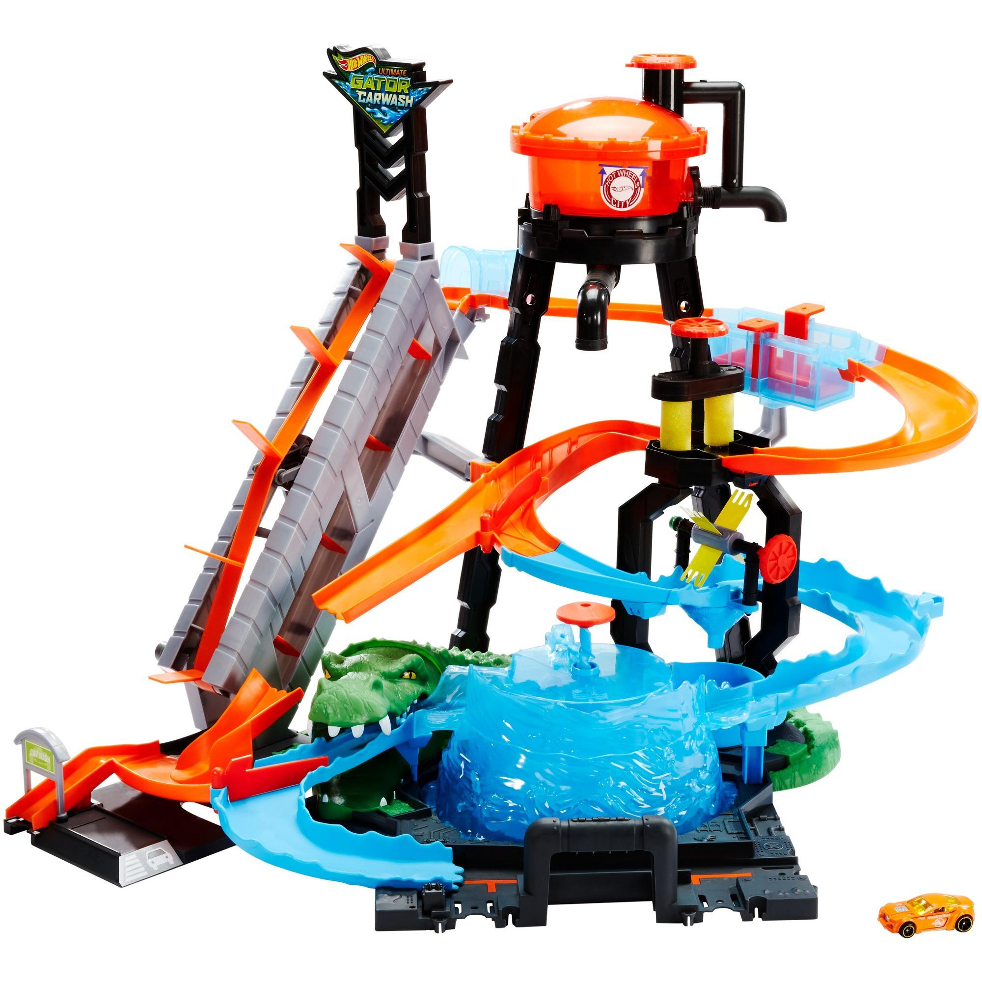 Hot Wheels Ultimate Gator Car Wash Play Set with Color Shifters Car by Mattel