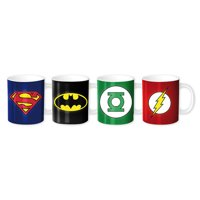 Justice League Of America - JLA - 4 Piece Ceramic Espresso Cup / Mug Set (Batman, Superman, Green Lantern & The Flash Insignias)
