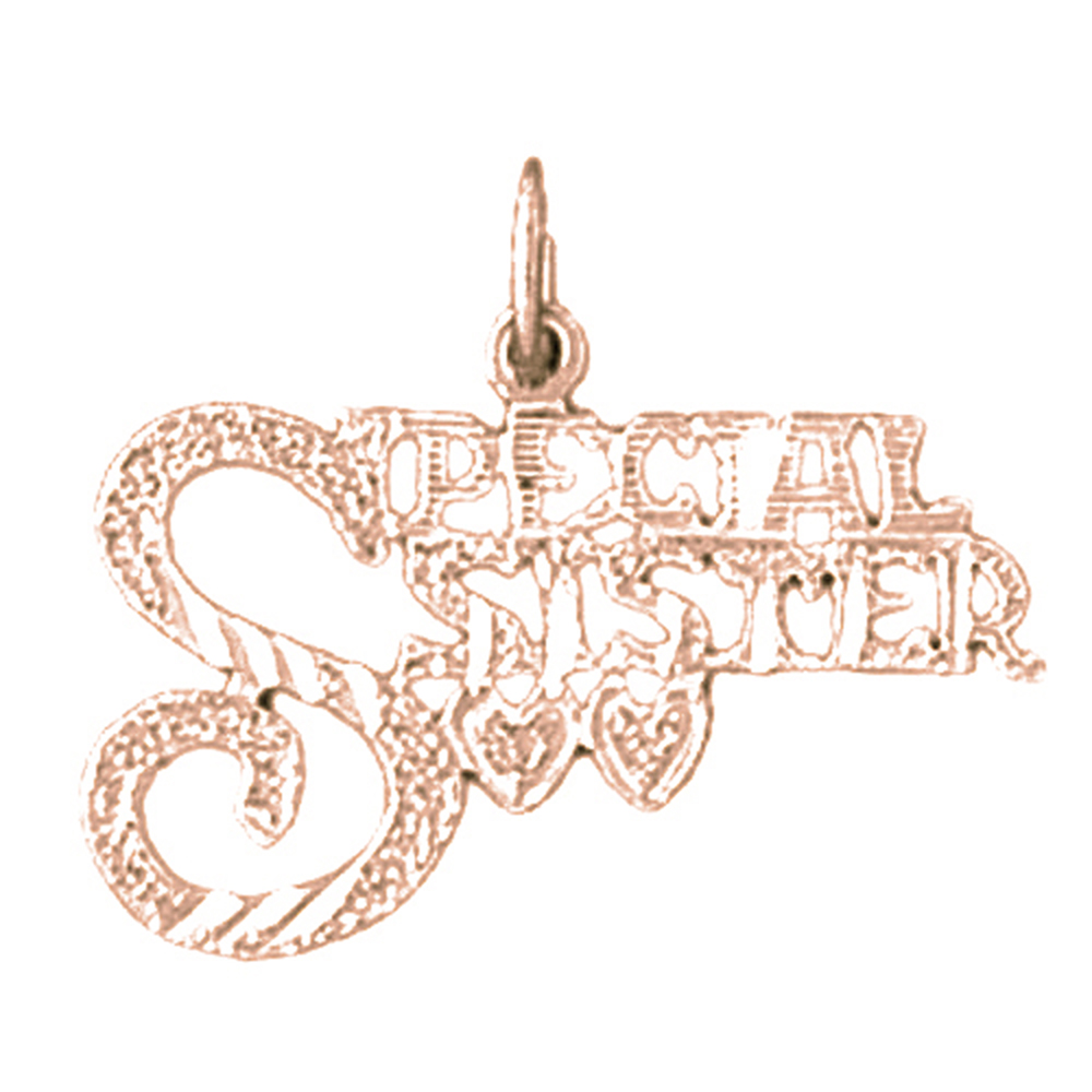 Rose Gold-plated 925 Sterling Silver Special Sister Pendant - 18 mm (Approx. 0.85 grams)