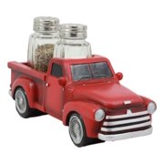 Ebros Classic Old Fashioned Red Pickup Truck Figurine Holder For Glass Salt And Pepper Shakers Kitchen Decor Statue