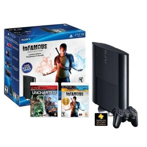 Refurbished 250 GB PlayStation 3 Uncharted Infamous Game Bundle & Controller
